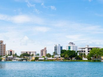 Sarasota skyline from water.