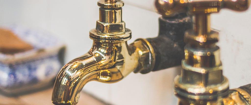 Gold faucet.