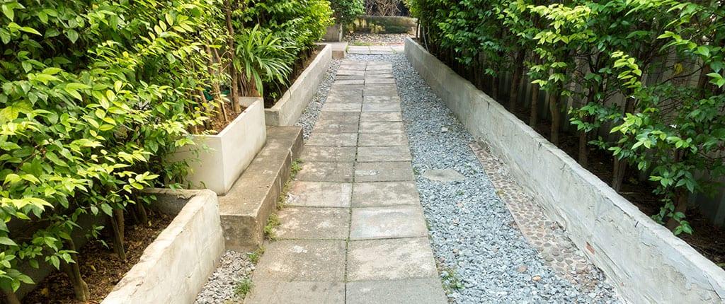Rocky stone walk path.